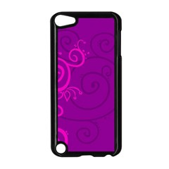 Floraly Swirlish Purple Color Apple Ipod Touch 5 Case (black)