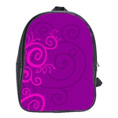 Floraly Swirlish Purple Color School Bags (xl)
