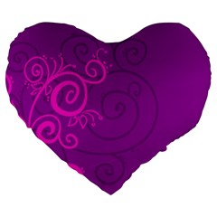 Floraly Swirlish Purple Color Large 19  Premium Heart Shape Cushions