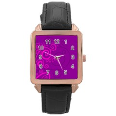 Floraly Swirlish Purple Color Rose Gold Leather Watch