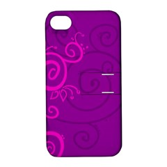 Floraly Swirlish Purple Color Apple Iphone 4/4s Hardshell Case With Stand