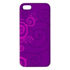 Floraly Swirlish Purple Color Apple Iphone 5 Premium Hardshell Case