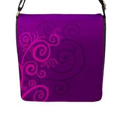 Floraly Swirlish Purple Color Flap Messenger Bag (l)