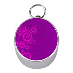 Floraly Swirlish Purple Color Mini Silver Compasses