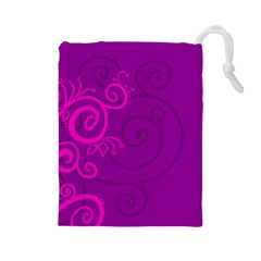 Floraly Swirlish Purple Color Drawstring Pouches (large)