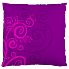 Floraly Swirlish Purple Color Large Flano Cushion Case (one Side)