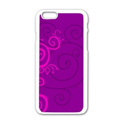 Floraly Swirlish Purple Color Apple Iphone 6/6s White Enamel Case