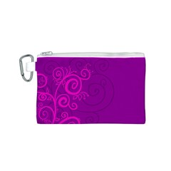 Floraly Swirlish Purple Color Canvas Cosmetic Bag (s)