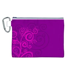 Floraly Swirlish Purple Color Canvas Cosmetic Bag (l)