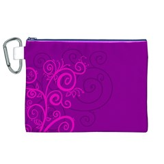 Floraly Swirlish Purple Color Canvas Cosmetic Bag (xl)