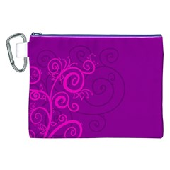 Floraly Swirlish Purple Color Canvas Cosmetic Bag (xxl)