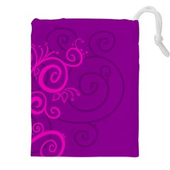 Floraly Swirlish Purple Color Drawstring Pouches (xxl)
