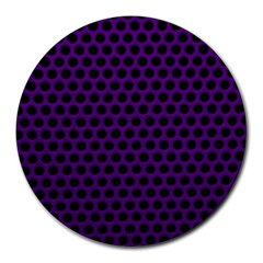 Dark Purple Metal Mesh With Round Holes Texture Round Mousepads