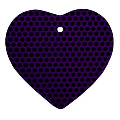 Dark Purple Metal Mesh With Round Holes Texture Ornament (heart)