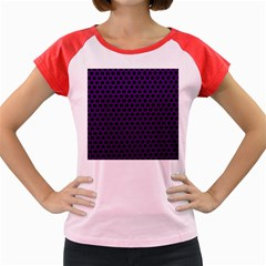 Dark Purple Metal Mesh With Round Holes Texture Women s Cap Sleeve T Shirt