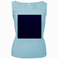 Dark Purple Metal Mesh With Round Holes Texture Women s Baby Blue Tank Top