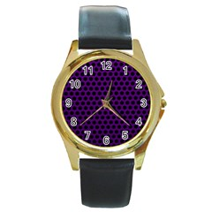 Dark Purple Metal Mesh With Round Holes Texture Round Gold Metal Watch