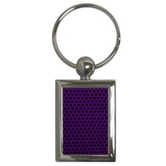 Dark Purple Metal Mesh With Round Holes Texture Key Chains (Rectangle)