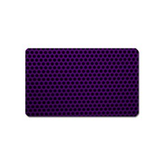 Dark Purple Metal Mesh With Round Holes Texture Magnet (name Card)