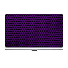 Dark Purple Metal Mesh With Round Holes Texture Business Card Holders