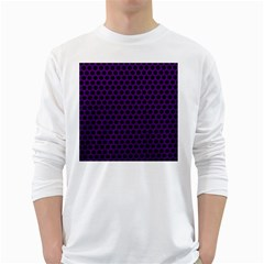 Dark Purple Metal Mesh With Round Holes Texture White Long Sleeve T Shirts