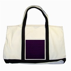 Dark Purple Metal Mesh With Round Holes Texture Two Tone Tote Bag