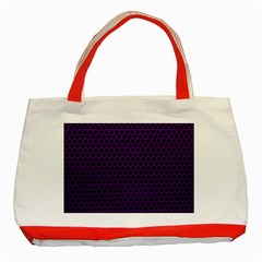 Dark Purple Metal Mesh With Round Holes Texture Classic Tote Bag (red)