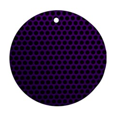 Dark Purple Metal Mesh With Round Holes Texture Round Ornament (two Sides)