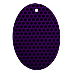 Dark Purple Metal Mesh With Round Holes Texture Oval Ornament (two Sides)