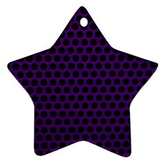 Dark Purple Metal Mesh With Round Holes Texture Star Ornament (two Sides)