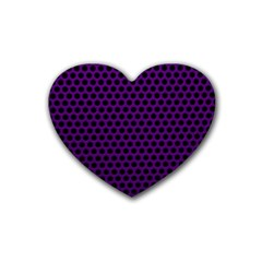 Dark Purple Metal Mesh With Round Holes Texture Heart Coaster (4 Pack)