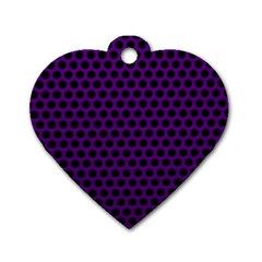 Dark Purple Metal Mesh With Round Holes Texture Dog Tag Heart (two Sides)