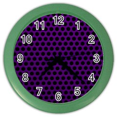 Dark Purple Metal Mesh With Round Holes Texture Color Wall Clocks