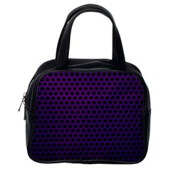 Dark Purple Metal Mesh With Round Holes Texture Classic Handbags (one Side)