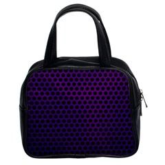 Dark Purple Metal Mesh With Round Holes Texture Classic Handbags (2 Sides)