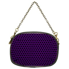 Dark Purple Metal Mesh With Round Holes Texture Chain Purses (two Sides)