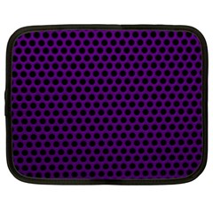 Dark Purple Metal Mesh With Round Holes Texture Netbook Case (xl)