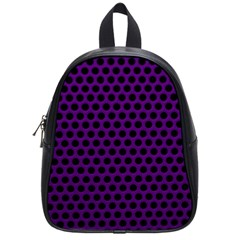 Dark Purple Metal Mesh With Round Holes Texture School Bags (small)