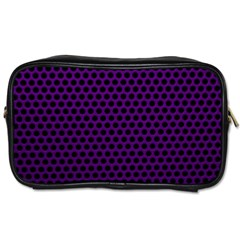 Dark Purple Metal Mesh With Round Holes Texture Toiletries Bags 2 Side