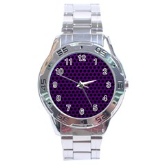 Dark Purple Metal Mesh With Round Holes Texture Stainless Steel Analogue Watch