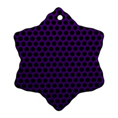 Dark Purple Metal Mesh With Round Holes Texture Snowflake Ornament (two Sides)