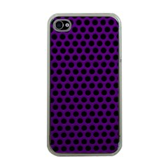 Dark Purple Metal Mesh With Round Holes Texture Apple Iphone 4 Case (clear)