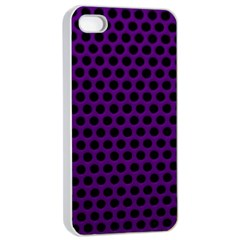 Dark Purple Metal Mesh With Round Holes Texture Apple Iphone 4/4s Seamless Case (white)