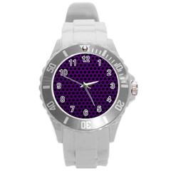 Dark Purple Metal Mesh With Round Holes Texture Round Plastic Sport Watch (l)