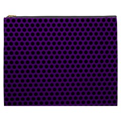 Dark Purple Metal Mesh With Round Holes Texture Cosmetic Bag (xxxl)