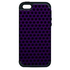 Dark Purple Metal Mesh With Round Holes Texture Apple Iphone 5 Hardshell Case (pc+silicone)
