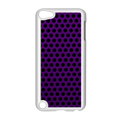 Dark Purple Metal Mesh With Round Holes Texture Apple Ipod Touch 5 Case (white)