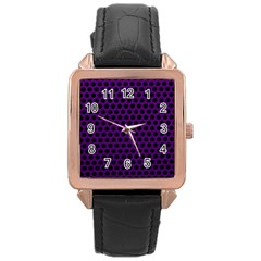 Dark Purple Metal Mesh With Round Holes Texture Rose Gold Leather Watch