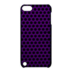 Dark Purple Metal Mesh With Round Holes Texture Apple Ipod Touch 5 Hardshell Case With Stand
