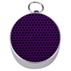 Dark Purple Metal Mesh With Round Holes Texture Silver Compasses